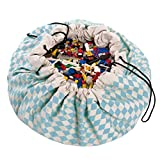 "Play&Go Large Children Diamond Play Mat and Toy Organizer Storage 55"" Bag - Portable Container for Storing Kids Toys - Blue"