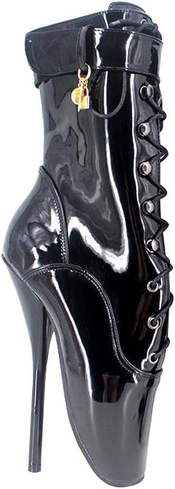 Botas Botines para Mujer Fetiche Zapatos con Tacon Alto para Mujer Plataforma Cremallera Hebilla Dorado Tacón de Aguja Alto 002, Cosy-L