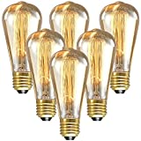 LONGYEE Vintage E27 Edison Screw Bulb 40w Dimmable ST64 Antique Filament Tungsten Loop Style quirrel Cage tungsten filament glass Bulbs 220V 6PCS