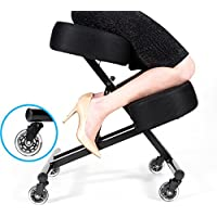 Sleekform Ergonomic Kneeling Chair for Healthy Back & Posture - Adjustable Knee Stool for Home & Office - Mesh Fabric - 4 Thick Cushions with High Resilience Sponge - Rollerblade Casters