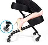 Sleekform Kneeling Posture Chair | Adjustable Ergonomic Office Stool with Rollerblade Wheels for Computer Work, Gaming, Meditation and Back Relief | Breathable Mesh Fabric