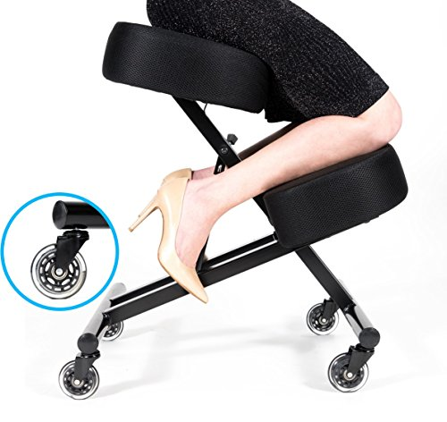 Sleekform Kneeling Posture Chair | Adjustable Ergonomic Office Stool with Rollerblade Wheels for Computer Work, Gaming, Meditation and Back Relief | Breathable Mesh Fabric by Sleekform