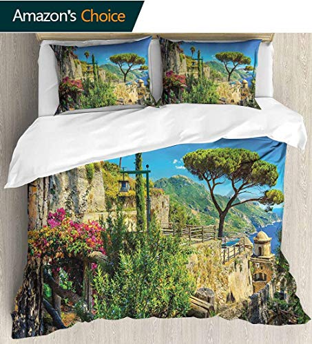 shirlyhome Scenery European Style Print Bed Set,Mediterranean Cute Stone Made Village with Trees Blossoms Flower Mountain and Sea 100% Cotton Bedspread/Quilt Set,3 Pieces 80