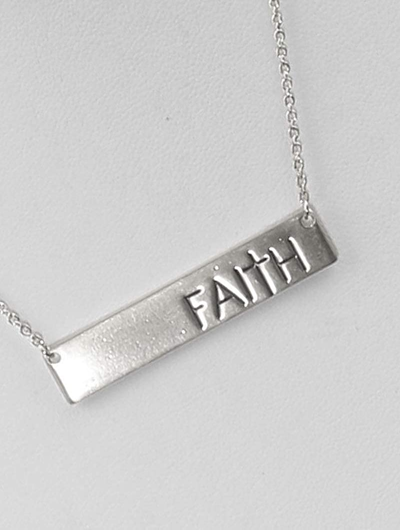 Silver Message Plate Matte Finish Metal Necklace Fashion Jewelry FancyCharm