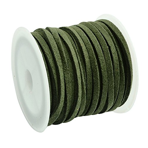 Leather Suede Wrap - PH PandaHall 1 Roll (5 Yards) 3mm Wide Faux Suede Cord Flat Micro Fiber Lace Leather Spool for Beading Necklace Jewelry Making (Olive)