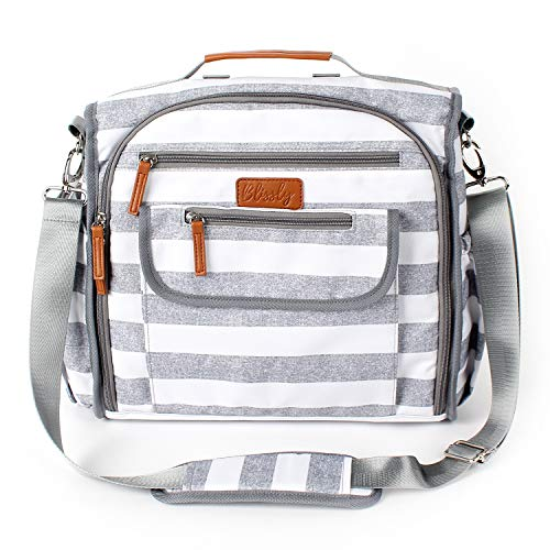 Convertible Diaper Bag by Blissly for Baby Girls, Boys, Twins, Moms & Dads. 13 Total Pockets Including 4 Thinsulate by 3M Insulated Bottle Pockets, Wipe Pocket, Stroller Straps & Changing Pad.