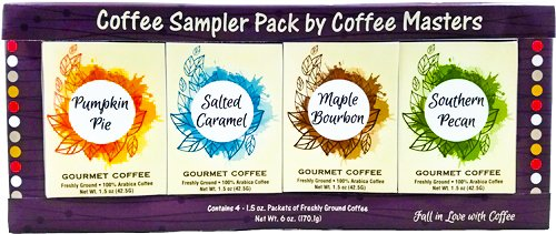 Gourmet Fall Coffee Assortment Sampler -Maple Bourbon, Pumpkin Pie, Salted Caramel, and Southern Pecan- Best Autumn,Thanksgiving or Christmas Gift Box Care Package