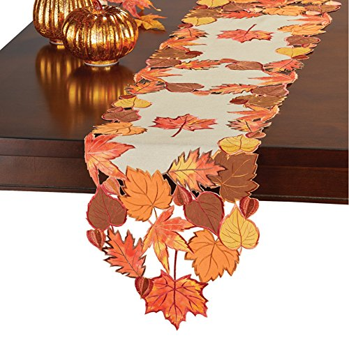 - Collections Etc Fall Leaves Applique Table Runner/Topper, Beige, Runner