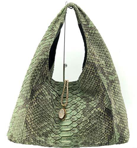 Genuine Exotic python Snake Skin Hobo Handbag with Stone