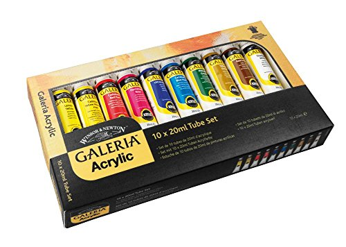 Winsor and Newton 20-Milliliter Galeria Acrylic Paint, 10-Pa