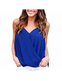 Women Sexy V Neck Halter Blouse Sleeveless Cold Shoulder Simple Shirts