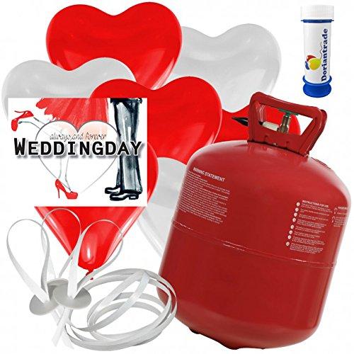 50 Herz Luftballons freie Farbwahl mit Helium Ballon Gas + 50 Weitflugkarten Weddingday + Gratis Doriantrade Seifenblasen 60 ml Hochzeit Valentinstag Komplettset (Rot/Weiß)