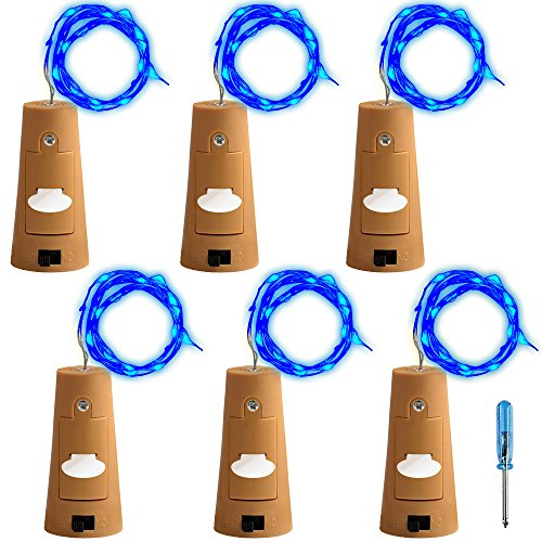 AFUNTA 6 Pcs Cork Light Screwdriver, Bottle Lights Fairy String LED Lights, 78 inches / 2 m Copper Wire 20 LED Bulbs Suitable Party Wedding Concert Festival Christmas Tree Decoration-Blue