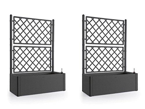 2 Stück XL Rankgitter, Spalier mit Pflanzkasten in moderner Rattan-Optik aus robustem Kunststoff in Anthrazit/ Grau. Maße BxTxH in cm: 100 x 43 x 142 cm. Topp für Garten, Terrasse und Balkon!