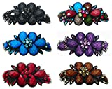 Set of 6 Large Barrettes Hair Clips with Beads and Crystals in Stunning Colors U86012-0017-6