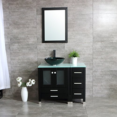 Glass Wood Vanity Cabinet (Walcut 36