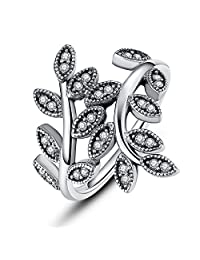 PAHALA Silver Plated Leaves With Crystals Cubic Zirconia Pave Wedding Engagement Band Ring