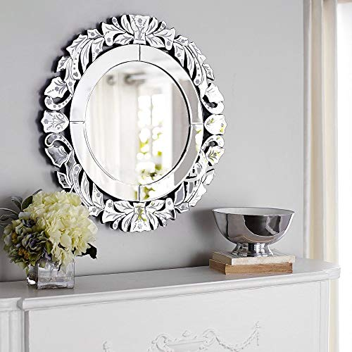 Wall Mirror with a Silver Backed Mirrored Glass Panel Best for Vanity, -