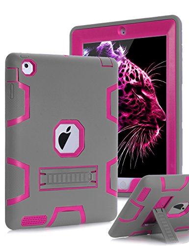 Topsky Shock-Absorption Three Layer Armor Defender Protective Case for iPad 2,3,4 with Stylus and Screen Protector - Grey/Pink