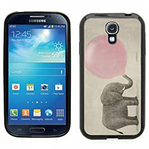 Samsung Galaxy S4 SIIII Black Rubber Silicone Case - Elephant Blowing a Pink Bubble Gum Bubble