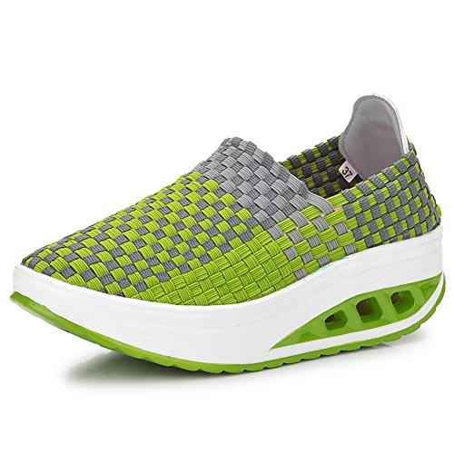XiaoYouYu Damen Sommer Mesh Sneakers Schuhe Grau, EU 39
