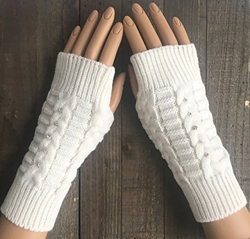 Cable Knit Fingerless Gloves Women White Rhinestone Burgundy Red Black Beige Arm Warmers Winter Mittens Hand Warmers Acrylic Handmade -