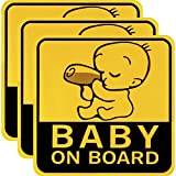 3 Pieces Baby on Board Car Stickers Reflective Magnetic Car Decals Safety Caution Sign for New Parent and Baby