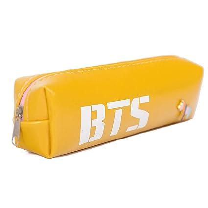 Estuche para lápices BANGTAN BOYS BTS, con cierre de cremallera, ideal para cosméticos, lápices, papelería, entre otros, color amarillo