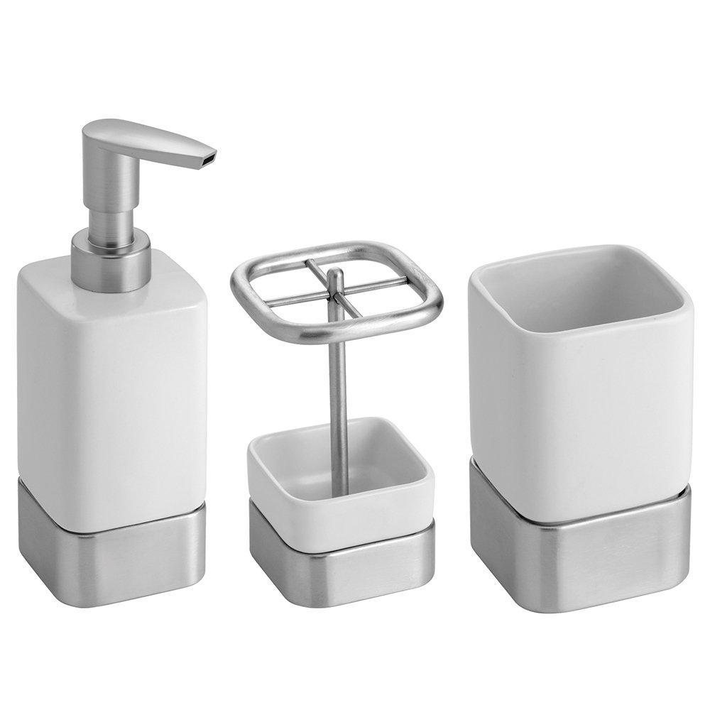 InterDesign Gia Bathroom Vanity Accessory Set, Soap Dispenser Pump, Toothbrush Holder, Tumbler - 3 Pieces, White