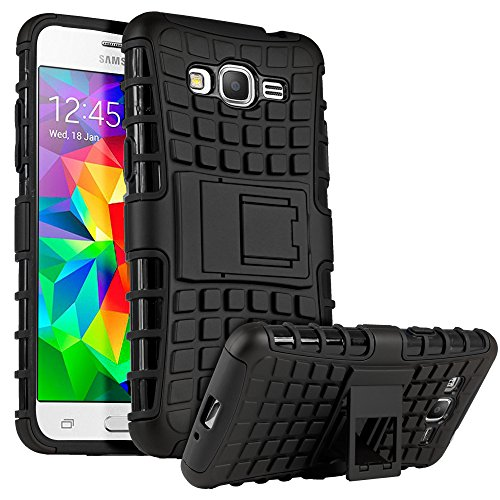 Galaxy Grand Prime Case, HHI Dual Armor Composite Case with Stand for Samsung Galaxy Grand Prime - Black (Package include a HandHelditems Sketch Stylus Pen)