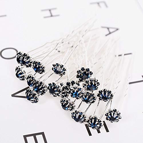 Wedding Bridal Crystal Flower Diamond Rhinestone Hair Pins Grips Clips New Blue (ColorID - - Pin Amber Flower