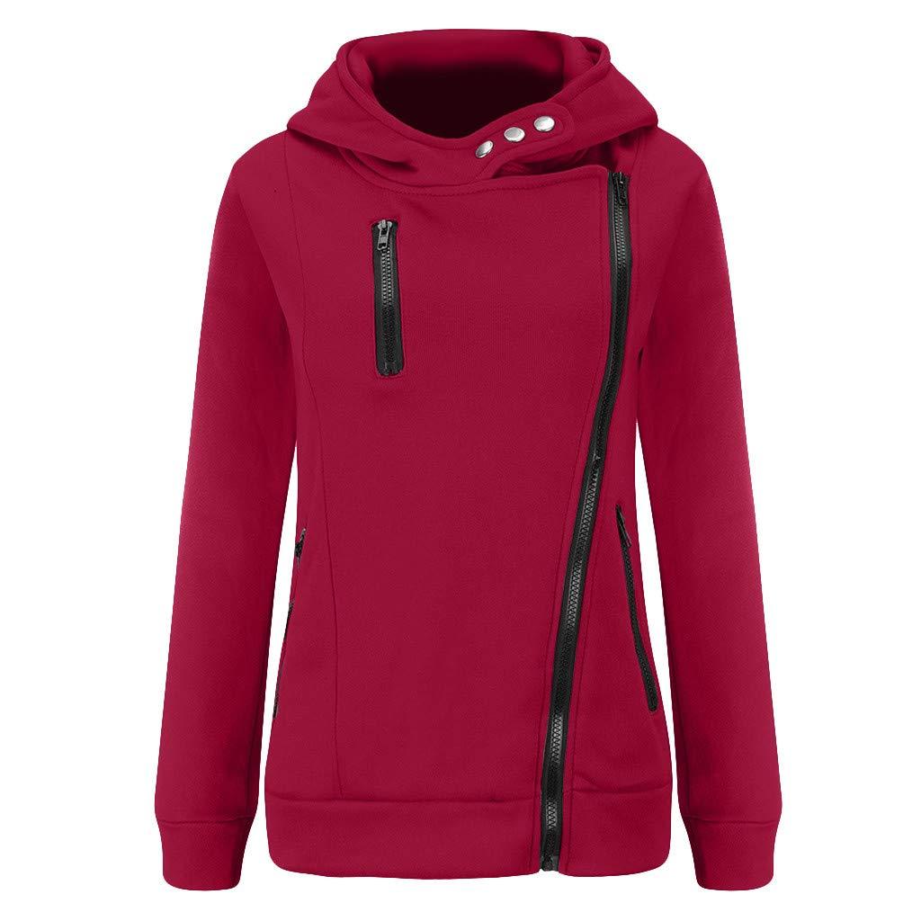 Shusuen Women's 3/4 Long Sleeve Hoodie Open Front Jacket Zipper Outwear Coat with Pockets Wine by Shusuen