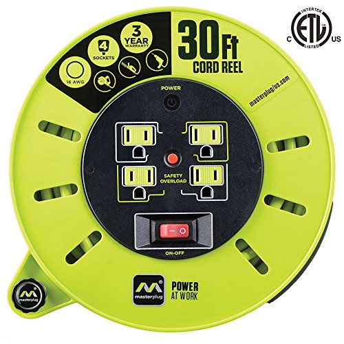 Masterplug 30ft Extension Cord Cassette Reel with 4 120V 13 amp Integrated Outlets and Thermal Overload Switch