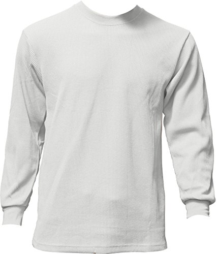Men's Thermal Top Warm Winter 100% Cotton, White M