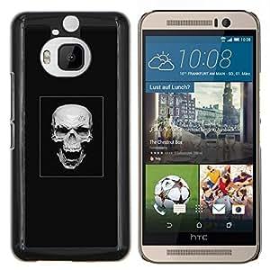 Cráneo malvado de la risa- Metal de aluminio y de plástico duro Caja del teléfono - Negro - HTC One M9+ / M9 Plus (Not M9)