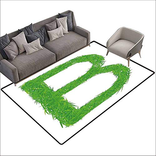 Inner Door Rug Letter B Kids Baby Boys Children Capital B Name Fresh Growth Environment Ecology Concept Durable W5' x L7'10 Green White