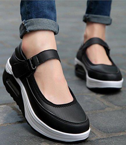 Fashion Sneakers Dames Platform, Wiggen Vrijetijds Werkpumps 4 Kleuren Maat 5.5-9 Zwart