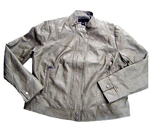 Bernardo Womens Faux Leather Moto Jacket (Medium, Grey)