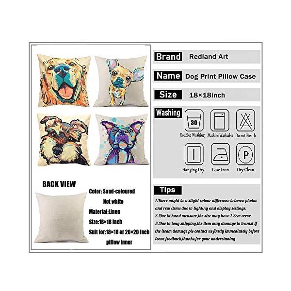 "Redland Art Cute Pet Border Collie Dog Pattern Cotton Linen Throw Pillow Covers Car Sofa Cushion Cases Home Decor Square 18""X18"" Inch 2"