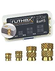 ruthex Schroefdraadbus - messing schroefdraadbussen - Insteekmoer voor kunststof onderdelen - kan door warmte of echografie worden ingebracht in 3D-geprinte onderdelen