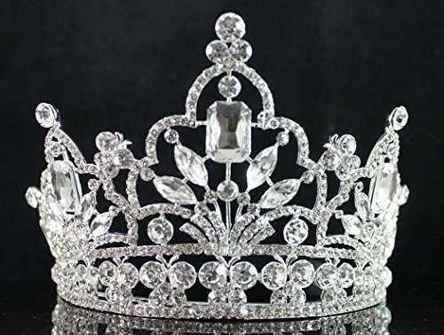 Janefashions Attractive Clear White Austrian Crystal Rhinestone Tiara Crown With Comb Hair Jewelry Headband Veil Headpiece Princess Beauty Queen Parade Costume Birthday Party Prom Pageant T1856 Silver ()