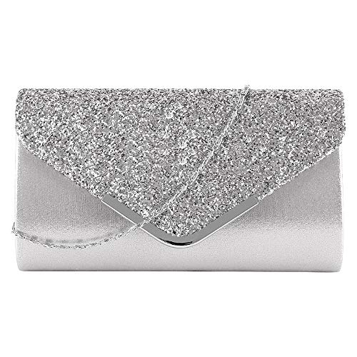 - Buddy Evening Envelope Women Rhinestone Clutch Purse Cocktail Wedding Party Bridal Handbag Silver