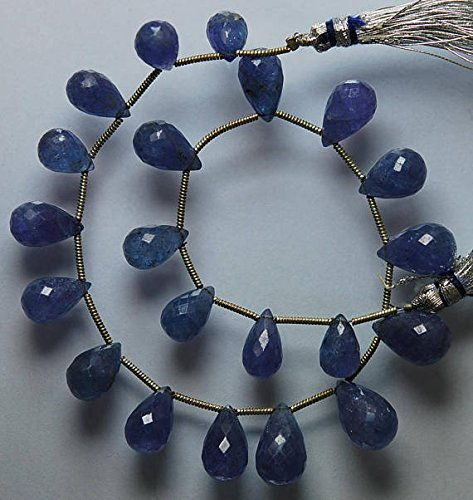 JP_BEADS 111 Carats, 9 Inches Strand, Blue Tanzanite Faceted Drops Briolettes, Large Drops Size 10-14mm