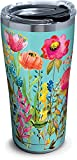 Tervis 1261351 Watercolor Wildflowers Stainless Steel Tumbler with Clear and Black Hammer Lid 20oz, Silver