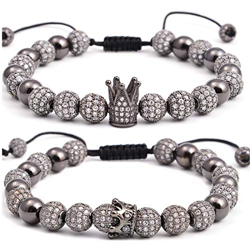 Massive Beads Luxury CZ Imperial Crown Braided Copper Bracelets with 8mm Micro Pave Cubic Zirconia Beads Pulseira Bangle Charm Jewelry(8.00,Gunmetal for Couple) - Bangle Bracelet Gunmetal