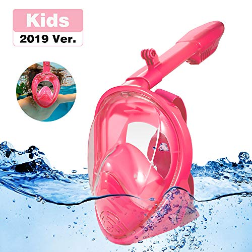 RayCue Full Face Snorkel Mask for Kids, 180 Panoramic View Shallow Dive Mask with Detachable Camera Mount, Free Breath Anti-Fog Anti-Leak Dry Top System