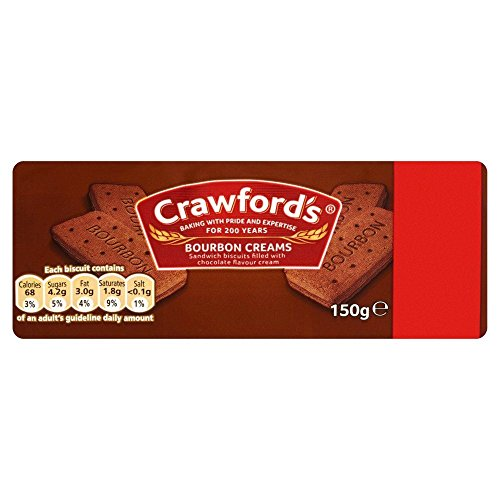 Crawfords Bourbon Creams - 150g - Pack of 4 (150g x 4) Cream Chocolate Biscuit