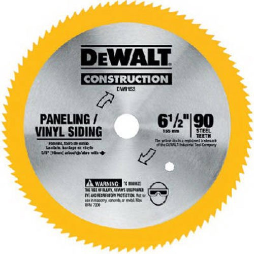 (DEWALT DW9153 6-1/2-Inch 90 Tooth Paneling and Vinyl Cutting Saw Blade with 5/8-Inch Arbor)
