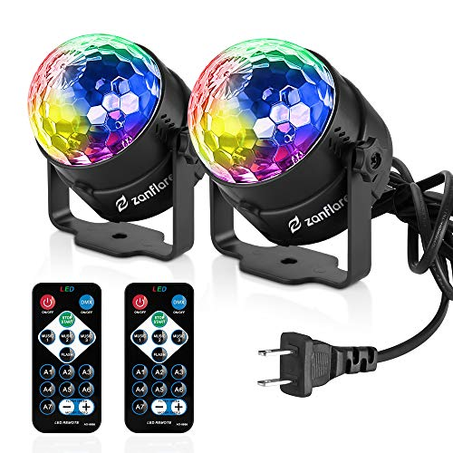 Sound Activated Party Lights with Remote Control, RBG disco ball, Zanflare 7 Lighting Color Modes Stage Par Light for Holiday Home Room Dance Parties Birthday DJ Bar Karaoke Wedding Show Club Pub