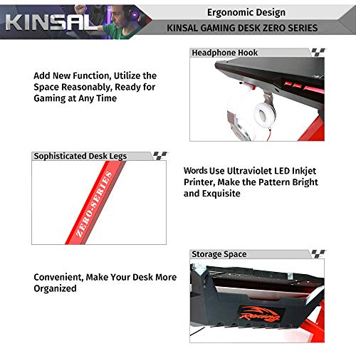 Kinsal Z-Shaped Gaming Desk Computer Desk Table with Fighting RGB